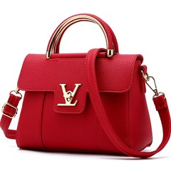 New tide single shoulder diagonal small bag Korean fashion handbags Messenger small square bag Wine red 22*18*11  cm