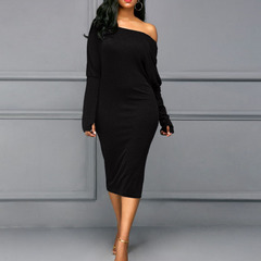 Fashion sexy slim diagonal spanner strapless long black dress sleeve one-step skirt black s