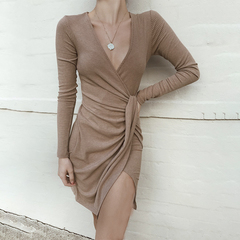 New Ribbed asymmetrical hem long sleeve dress sexy deep V-neck breasts women's skirt coffee s