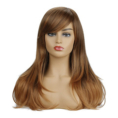 Fashion lady fluffy long straight long hair can be flat oblique bangs wig brown 55 cm