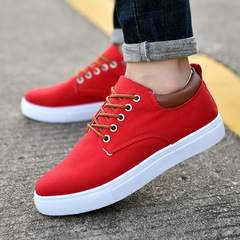 2019 new canvas shoes Korean men's wild casual shoes trend extra large code shoes low to help red 39