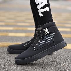 British matte belt buckle tide men's high shoes men's warm shoes all Black 38