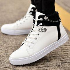 New men's shoes Korean fashion chain canvas shoes high to help casual shoes men's tide shoes white 38