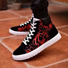 New canvas shoes color casual men's shoes in the high-top trend of breathable Martin boots men wred 39