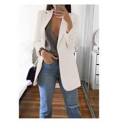 Large size Fashion lapel Slim cardigan temperament suit jacket women's office clothing White S