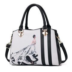 New fashion trend handbag casual handbags Europe and America big bag casual printing shoulder bag black 29*13*22  cm