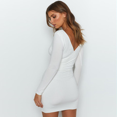 Plain fashion sexy Slim V-neck long-sleeved bag hip large size dress office women's clothing white s