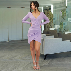 Fashion Women's Nightclub Bag Hip Dress Long Sleeve V-neck Pleated Split Slim Sexy Solid Color Dress purple s