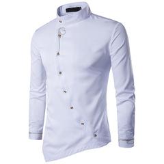Men's youth personality diagonal button irregular multi-color high-grade collar cotton slim shirt white S