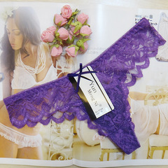 Fashion Sexy Thongs Women's Sexy Lace T/Thong Underwear Ties  Lady thong purple m