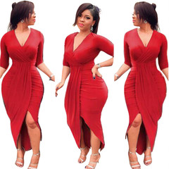 New office clothing women's sexy tight-fitting long-sleeved V-neck loose dress Red m