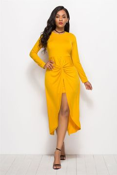 office casual women's swallowtail wrinkles solid color ball dress solid color round neck dress Yellow m