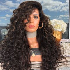 Wig ladies fashion dark brown long curly hair in the wig big wave long bangs wig photo color 56 cm