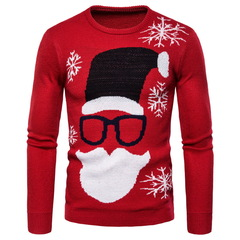 Fashion casual men's slim round neck sweater Santa Claus printing men's knit bottoming shirt Red S