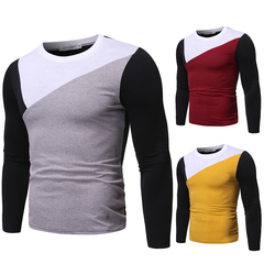 New fashion men's round neck contrast color long-sleeved slim cotton T-shirt light grey M