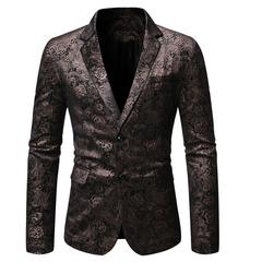 New fashion hot stamping dark pattern men's casual double buckle slim suit men's cotton suit black M