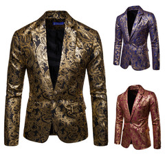 Fashion men's suit bright face hot stamping suit groomsmen dress men's dress costumes black m