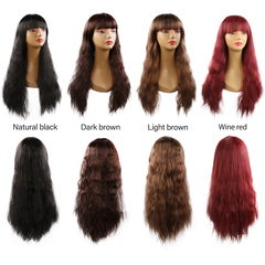 Korean version of wig ladies fashion face fluffy corn hot long hair Qi Liu wig Dark brown 65cm