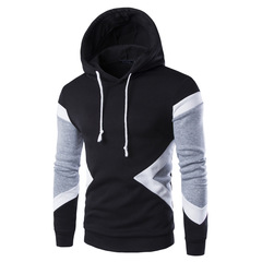 New men's casual fashion stitching hooded head Korean version of cotton sweater black m