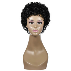 Woman fashion wig african small roll short roll wig black 23 cm