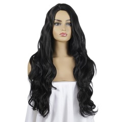 New ladies big wave long curly hair long bangs long hair wig black 65 cm