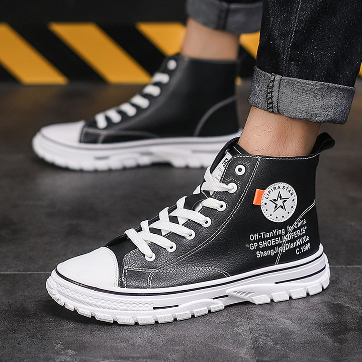 New high shoes men's Korean version of the wild casual sports shoes ins students tide shoes shoes black 39