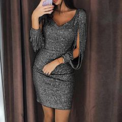 Best selling explosions bag hip skirt Sexy nightclub sparkling V-neck tassel lantern sleeve dress black s
