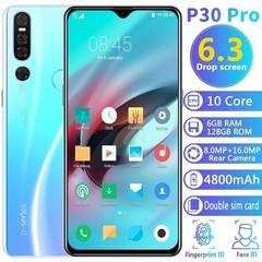 P30 Pro + 6.3 inch Android 9.1 smartphone face / fingerprint unlock 6GB + 128GB MTK6763 black