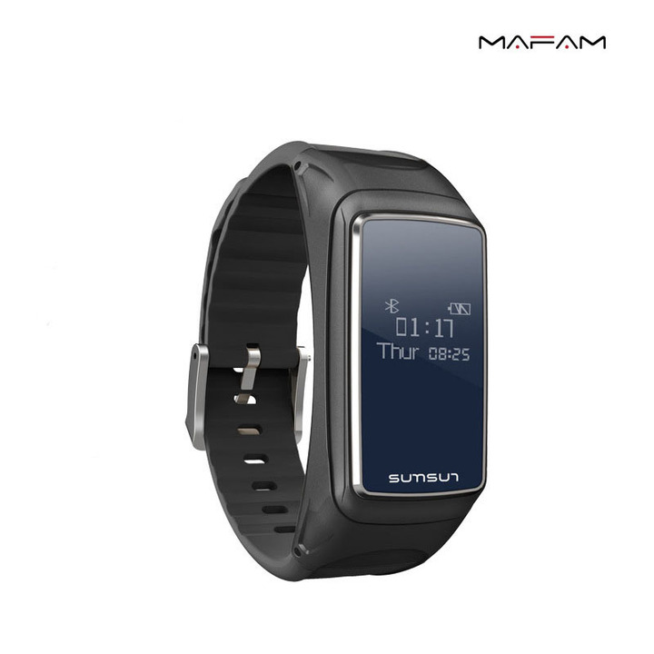 Smart Bracelet Bluetooth Headset Combine Call Wtith Listenig To Music Heart Rate Monitoring Step black 0.66 inch