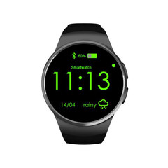 KW18 Smart Watch Call Smart Watch Round Dial Bluetooth black 1.3 Inches Screen Size