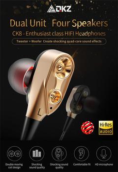 CK8 In-ear Double Dynamic Running Game Music Headset HIFI Headphones