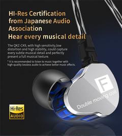 QKZ CK9 Double Dynamic Headphones Subwoofer Headphones HiFi Call Headphones Sports Headphones white