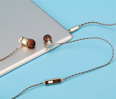High Quality Metal Earphones In-ear Subwoofer with Microphone Call Mobile Phone MP3 Computer gold
