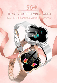 Fashion Women Bluetooth Waterproof Smart Watch Heart Rate Blood Pressure Diamond Cut Crystal Watch silver xl