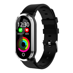 Fashion Women Smart Bracelet Bluetooth Waterproof Smart Wrist Watch Heart Rate Blood Pressure silver black 260 * 37 * 8 mm