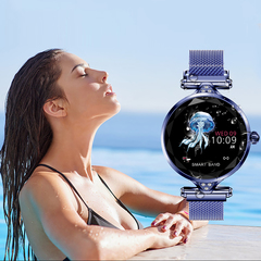 Smartwatch Bluetooth Waterproof FashWristband Bracelet HR Monitoring Fitness  Health Watch blue xl