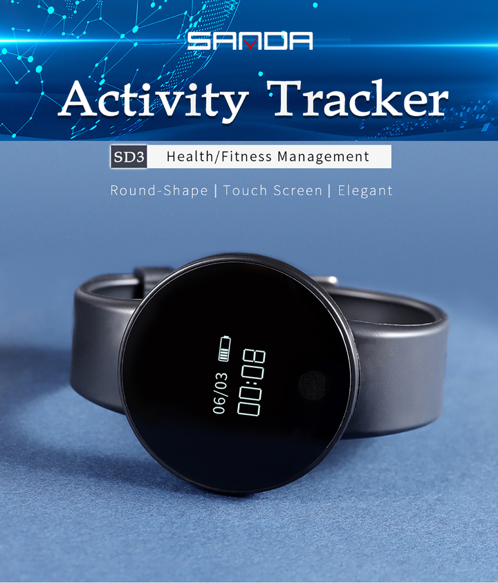 Men's Watch Bluetooth Touch Screen Smart Bracelet Sport Smartwatch Pedometer Fitness Tracker Watch black XL