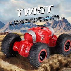 4WD Transformable Construction Remote Control Toy Double Side Driving Car red xl