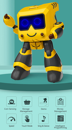 Intelligent Remote control Robot Intelligent Programming Toy yellow xl
