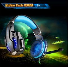G9000 USB 7.1 Surround Sound Version Game Headphone with Microphone LED Light blue