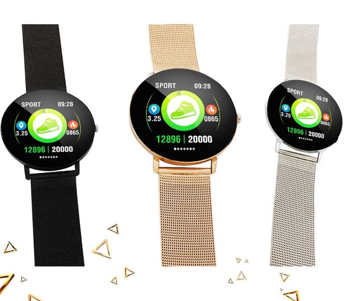 Fashion Sports Fitness Tracker Strap Heart Rate Smart Bracelet moonlight silver xl
