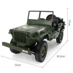 4WD Remote Control Military Jeep Off-Road Toy Army Green 34.5 x 13 x 17 cm