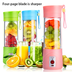Multifunctional Portable Juicer Cup Rechargeable Mixer USB Juicer Vegetable Fruit ,Reamer Bottle Pink 380ml