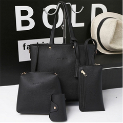 Fashion lady handbag shoulder bag mother buns mother bag four-piece tassel bucket bag red 26.5cm-24cm11cm
