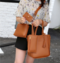 Fashion lady handbag shoulder bag mother buns mother bag four-piece tassel bucket bag Light brown 26.5cm-24cm11cm