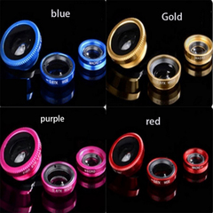 Universal 3-in-1 Clip-on Mobile Camera Lens Set Fisheye Macro Wide-angle External Clip Lens 3-in-1 Gold