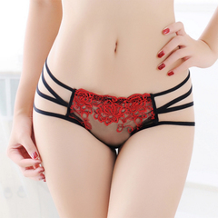 Explosive models embroidery ladies thongs sexy underwear transparent lace triangle briefs As shown one size