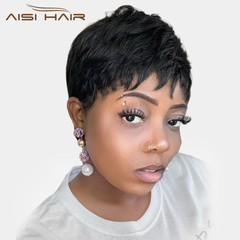 Synthetic Black Short Women Wig Straight Wigs for Women Natural Hair Heat Resistant black 2 inches