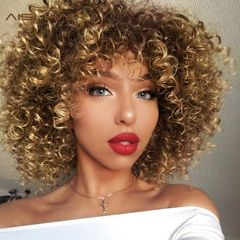 Afro Wigs For Black Women Short Kinky Curly Brown Mixed Blonde Synthetic Heat Resistant Wigs brown 12 inches