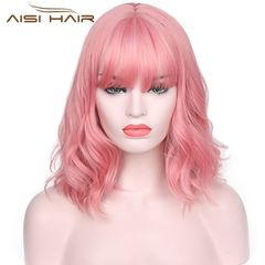 Short Pink Wavy Bob Wig for Women With Air Bangs Synthetic Hair Wigs Pink Curly Cosplay Wig pink 14 inches
